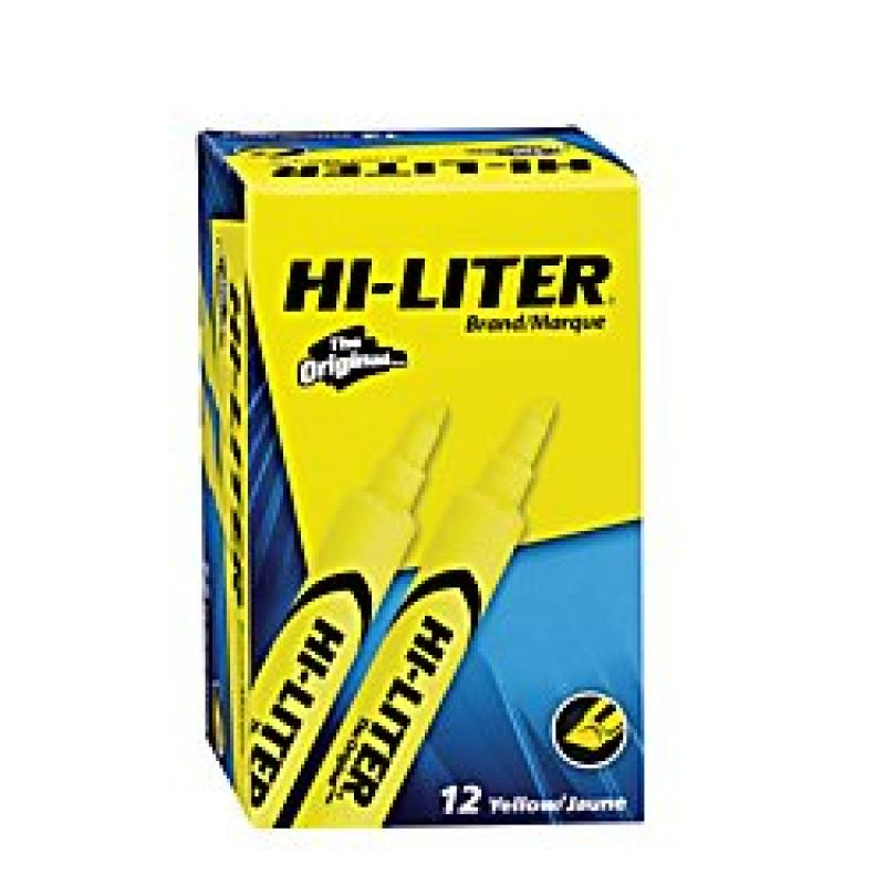 HI-LITER Desk Style, Yellow, 12 Highlighters (98035)
