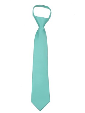 Boys 11 inch Solid Color Zipper Necktie Ties - Many Colors Available