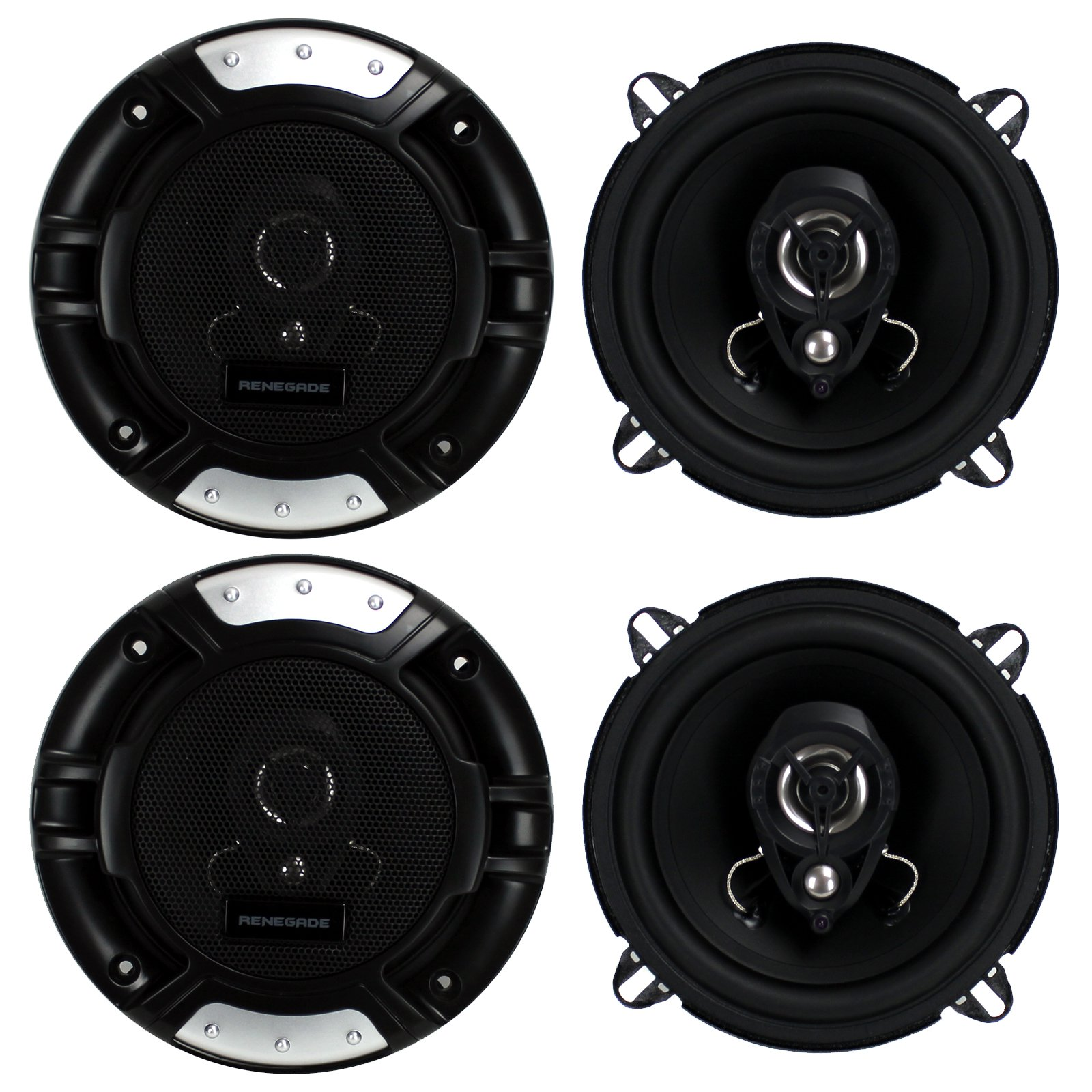 "4) New Renegade RX52 5.25"" 320 Watt 2-Way Car Audio Coaxial Speakers Stereo"
