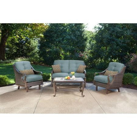 Hanover Ventura 4-Piece Outdoor Wicker Patio Set with Pillows, Blue ()
