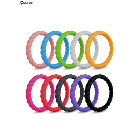 Spencer Pack of 10 Silicone Wedding Rings for Women,Thin and Stackable Braided Rubber Bands,Skin Safe