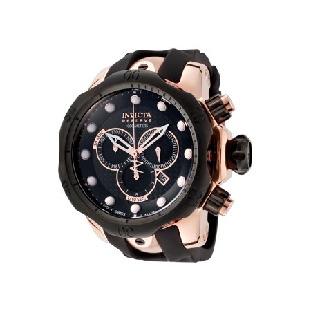 Invicta 0361 Men's Venom Reserve Chrono Black Pu Carbon Fiber Dial Rose 18K Gp Ss Watch