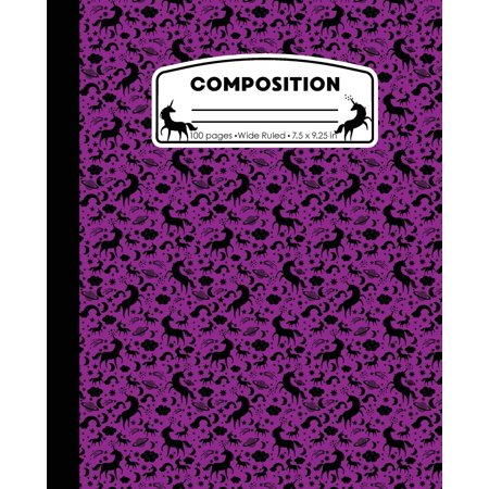 Composition : Unicorn Purple Marble Composition Notebook Wide Ruled 7.5 X 9.25 In, 100 Pages Book for Girls, Kids, School, Students and (10 Classroom Rules For High School Students)