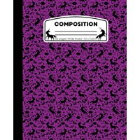 Composition : Unicorn Purple Marble Composition Notebook Wide Ruled 7.5 X 9.25 In, 100 Pages Book for Girls, Kids, School, Students and Teachers