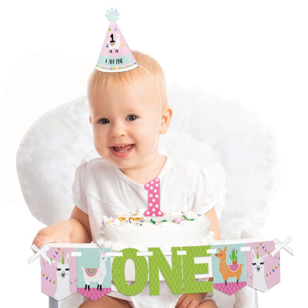 Whole Llama Fun 1st Birthday - First Birthday Girl Smash Cake Decorating Kit - High Chair Decorations