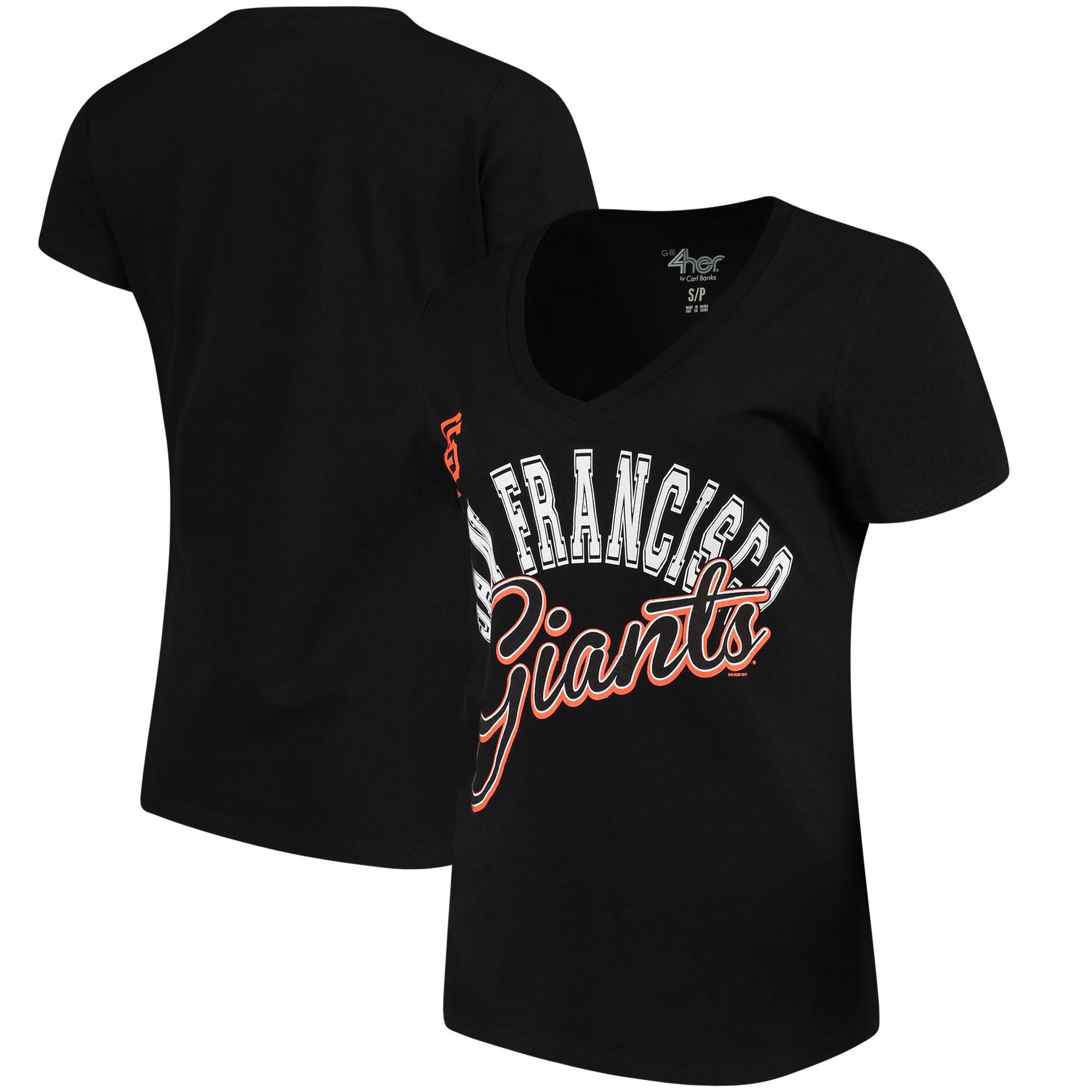 San Francisco Giants G-III 4Her by Carl Banks Women's Fair Catch V-Neck T-Shirt - Black