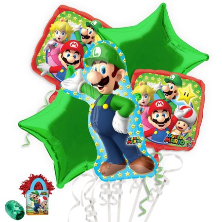 Mario And Luigi Decorations (Mario Bros Luigi Balloon Bouquet)