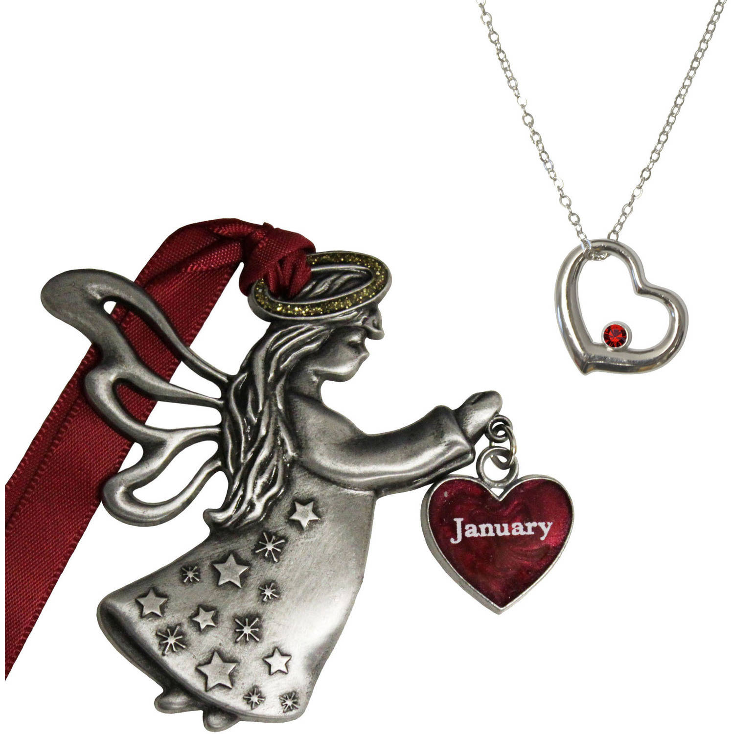 Gloria Duchin January Birthstone Angel Ornament and Necklace Set