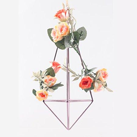 Decorative Detachable Hanging Geometric Himmeli Mobile Wreath Flower Rack Air Plant Holder 10 inches Purple Slim (Decorative Wreath)