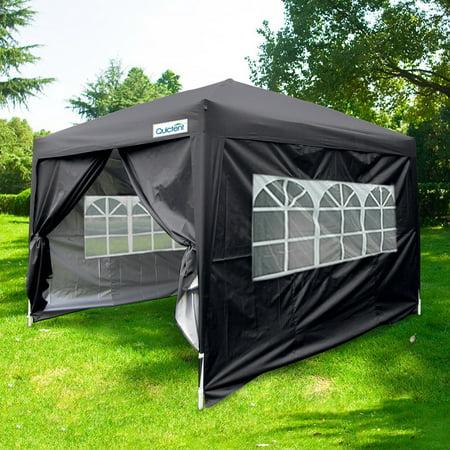 Quictent 10 X 10' Ez Set Pop up Canopy Tent Instant Gazebo Party Tent with 4 Sidewalls & Roller Bag Waterproof (Black)