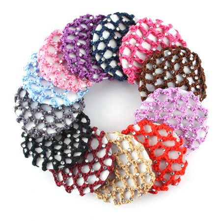 Elastic Round Bun Cover Snood Hair Wrap Net Skating Crochet Hairnet