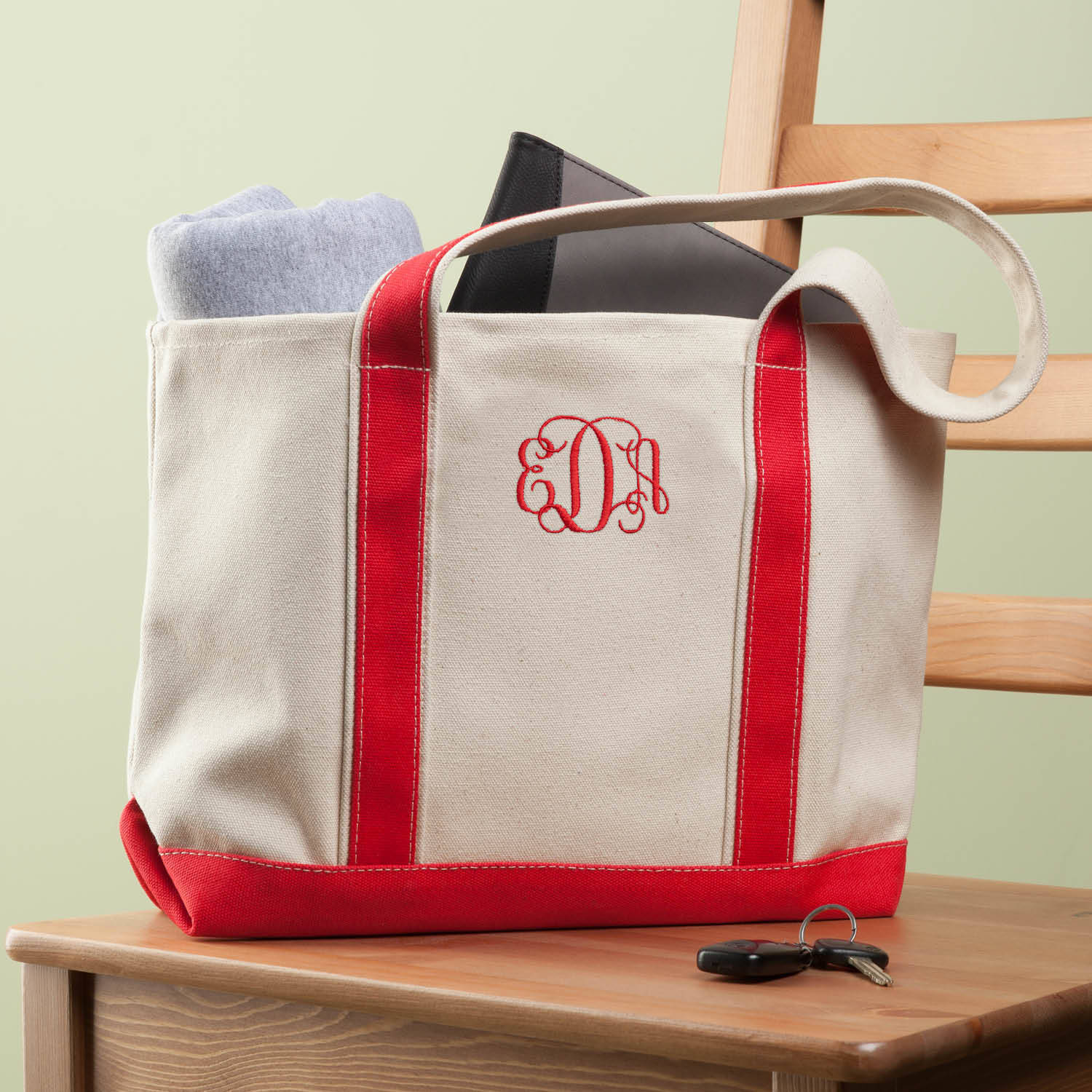 My Personalized Or Monogram Red Tote Bag