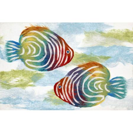 "Liora Manne Visions IV Rainbow Fish Indoor/Outdoor Mat Green 20""X29.5"""