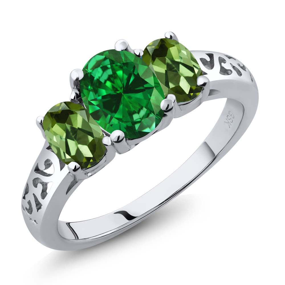 3.10 Ct Oval Green Simulated Emerald Green Tourmaline 18K White Gold 3-Stone Ring by