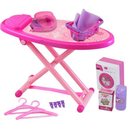 Matashi Mini Washing and Ironing Set with Toy Washing Machine, Iron, Ironing Board and Accessories by Dimple