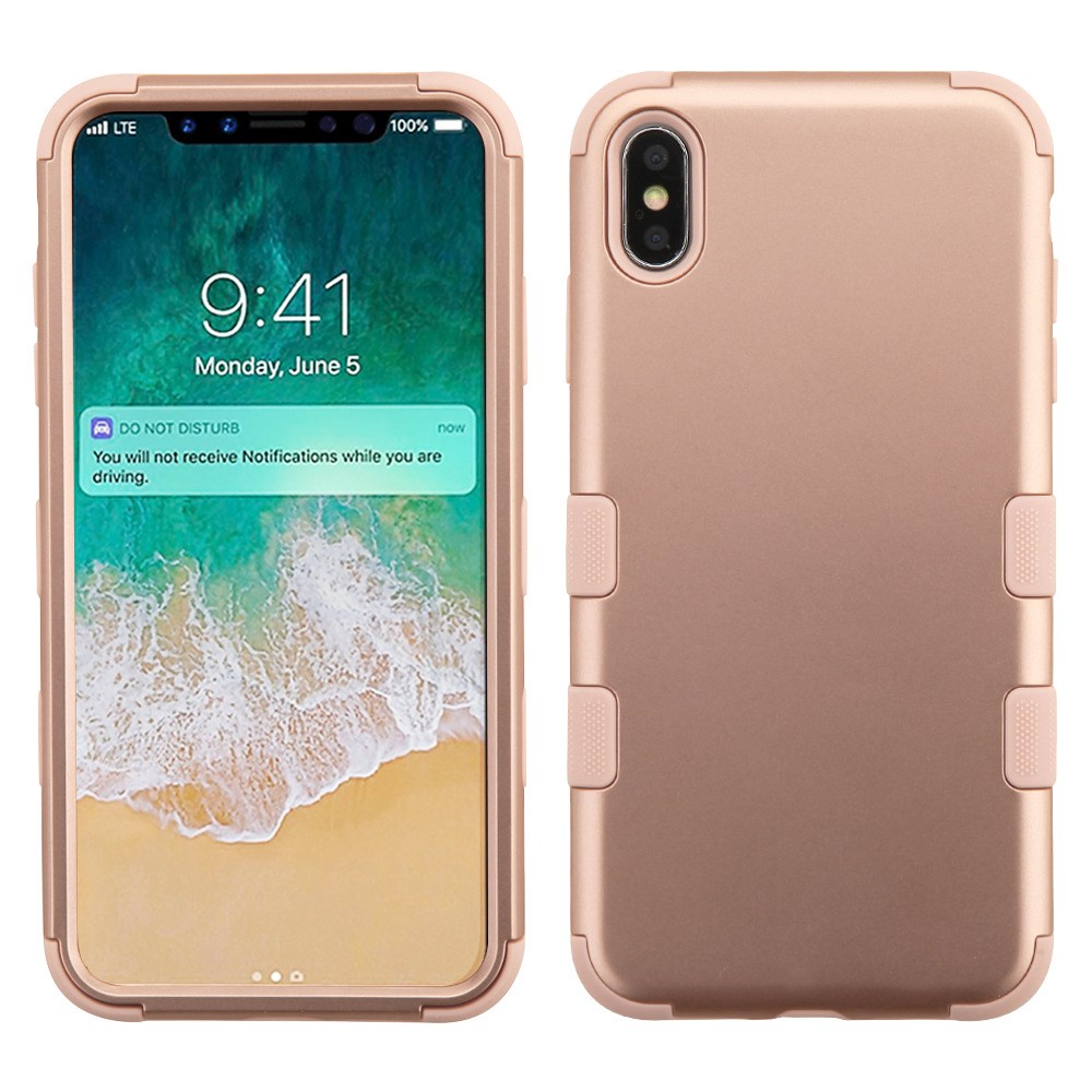 TUFF Hybrid (Military Grade Certified) Phone Protector Cover Case for iPhone XS MAX - Rose Gold