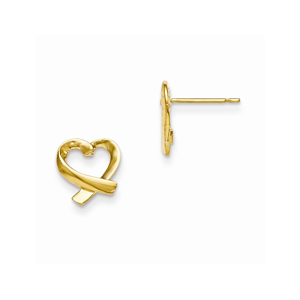 Solid 14k Yellow Gold Children's Heart Post Earrings (9mm x 10mm)