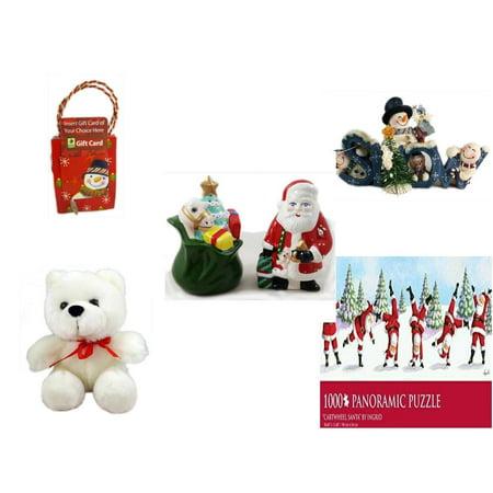 Christmas Fun Gift Bundle [5 Piece] - Musical Gift Card Holder Snowman - Crazy Mountain Snowman Family