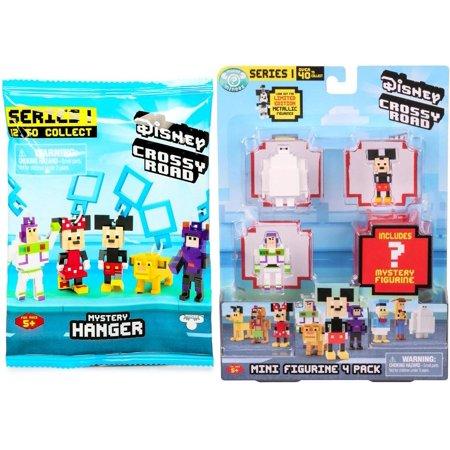 Crossy Road Disney Series 1 Mini Figurine 4-Pack & (1) Mystery Mini Figure Blind Bag Hanger Video Game Character Bundle - Crossy Road Characters Halloween