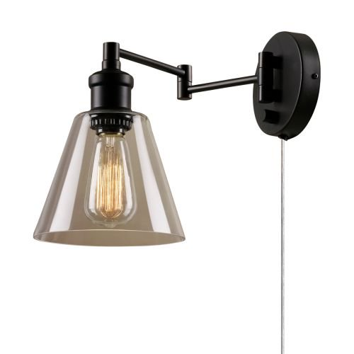 Globe Electric 65311 LeClair Single Light Swing Arm Wall Sconce With Clear Glass Shade And Canopy