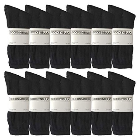 12 Pairs of WSD Mens Cotton Crew Socks, Solid, Athletic (Brown)