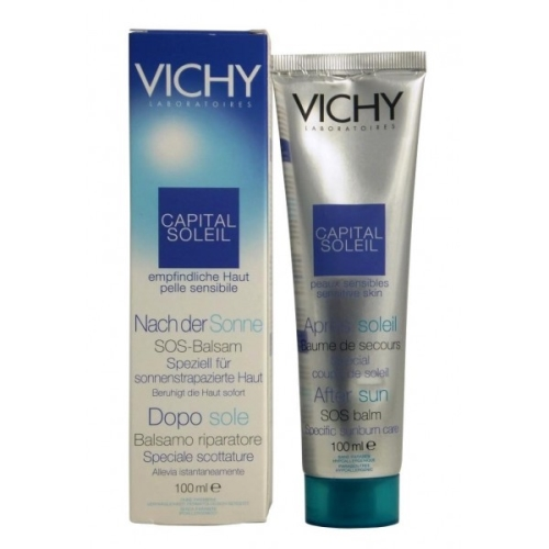 Vichy Capital Soleil Water Resistant Non-greasy After Sun Repairing Balm 100 Ml Vaseline Lip Therapy Original, .25 oz (Pack of 3)