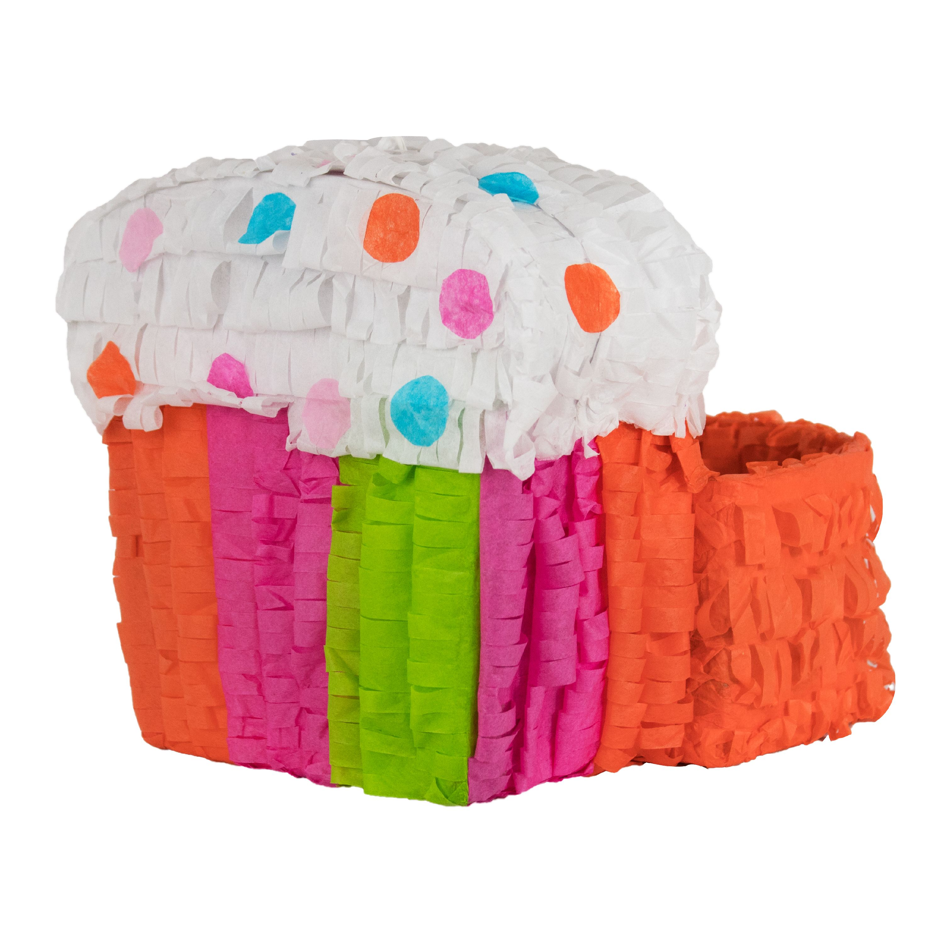Cupcake Centerpiece Mini Pinata, Orange, Pink, & Green, 8.25in x 12in
