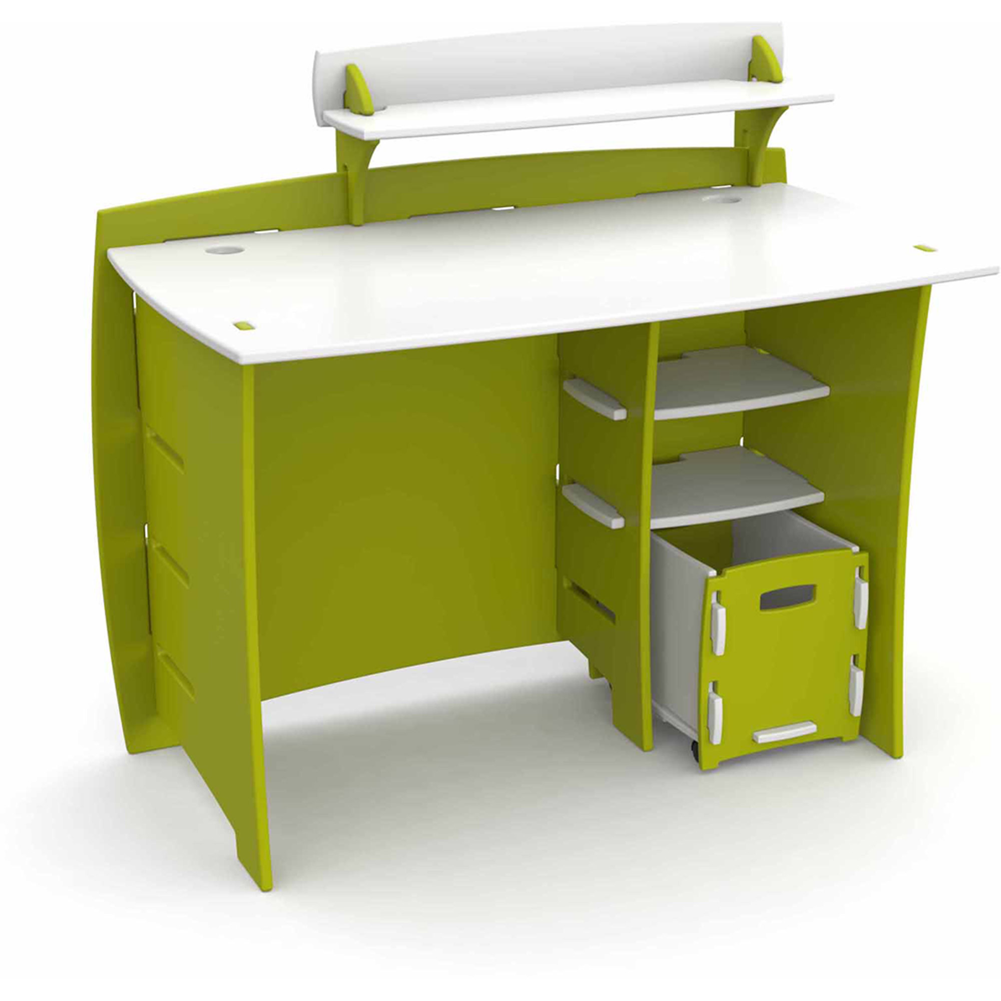 Legare Kids Furniture Frog Series Collection Complete Desk System Set, Lime Green and White