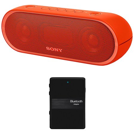 Sony XB20 Portable Wireless Speaker with Bluetooth, Red - SRSXB20/RED (2017 model) + Bluetooth 4.1 Stereo Receiver and Transmitter 2 in 1