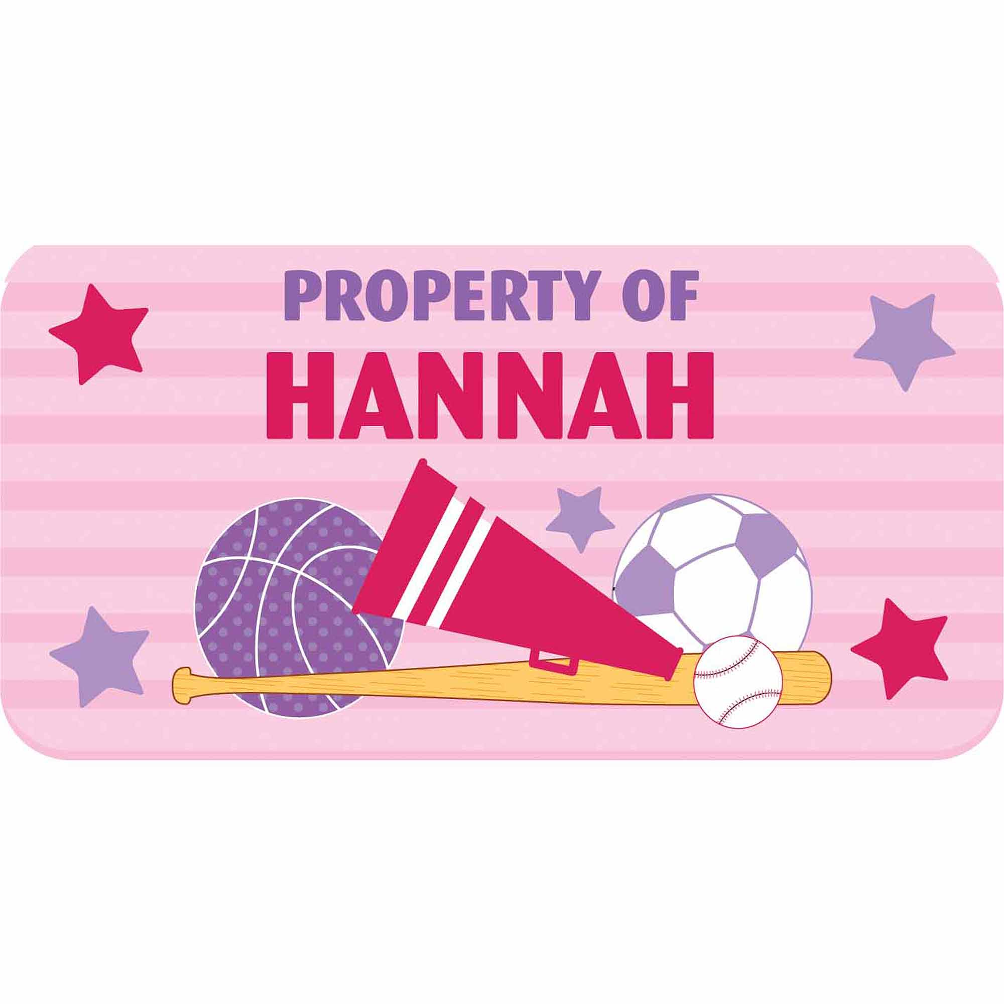Personalized Kids Property Labels, All Star Girl