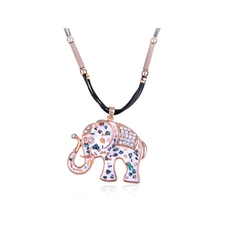 Multicoloured Patterned White Tone Rhinestone Studded Elephant Trek (Pattern White Gold Necklace)