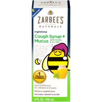 Zarbee's Naturals Children's Cough Syrup + Mucus Nighttime, Grape, 4 fl oz