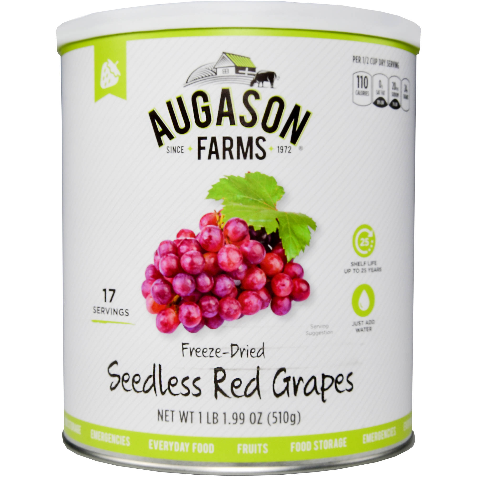 Augason Farms Freeze Dried Seedless Red Grapes 18 oz #10 Can by