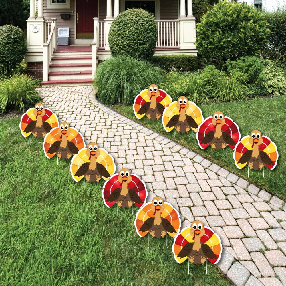 Thanksgiving Turkey - Turkey Lawn Decorations - Outdoor Fall Harvest Yard Decorations - 10 Piece