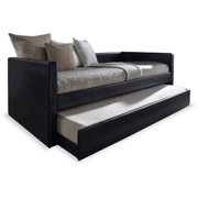 Baxton Studio Risom Modern and Contemporary Black Faux Leather Upholstered Twin Size Daybed Bed Frame with Trundle