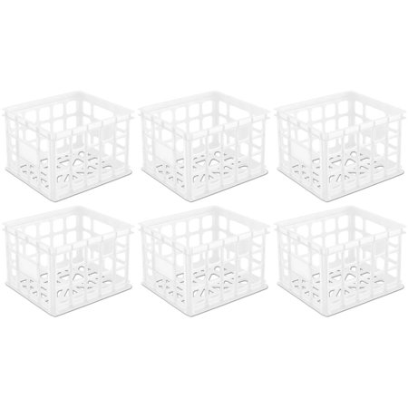 6 Pack) Sterilite 16928006 Plastic White Storage Box Milk Crate Containers Home ()
