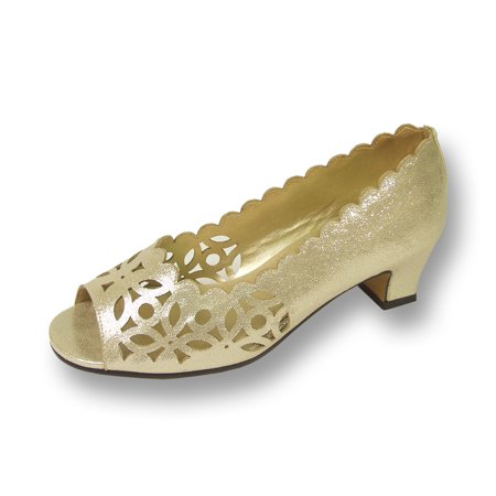 FLORAL Irene Women's Wide Width Open Toe Perforated Outer Design Slip On Shoes GOLD 6 - Floral Open Toe