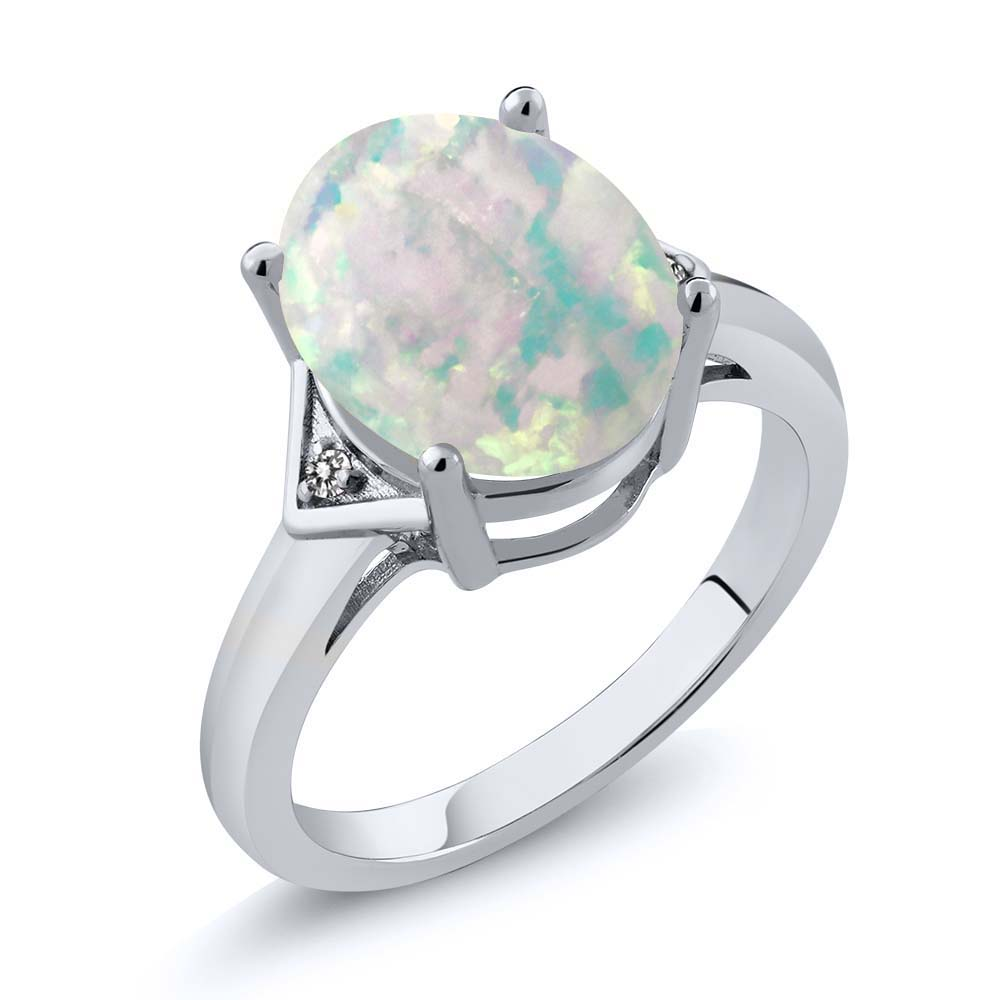 4.01 Ct Oval White Simulated Opal White Diamond 925 Sterling Silver Ring by