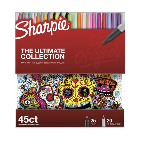 Sharpie Permanent Markers Ultimate Collection, Fine and Ultra Fine Points, Assorted Colors, 45 Count