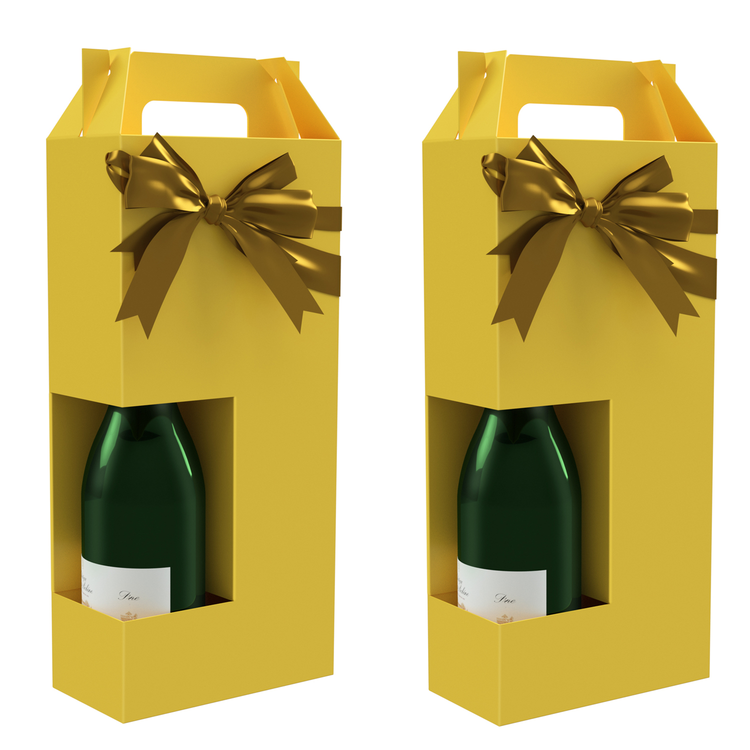 Champagne Gift Box - Margaux (x2) Collection Reusable Caddy - Easy to Assemble - No Glue Required - Gift Tag and Ribbon Included - Set of 2 - EZ Champagne Box by Endless Art US