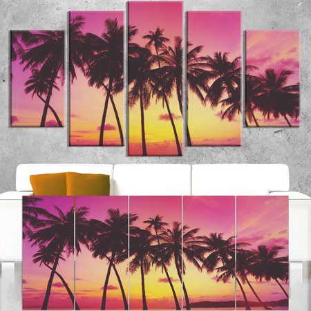 DESIGN ART Row of Beautiful Palms under Magenta Sky - Extra Large Wall Art Landscape -