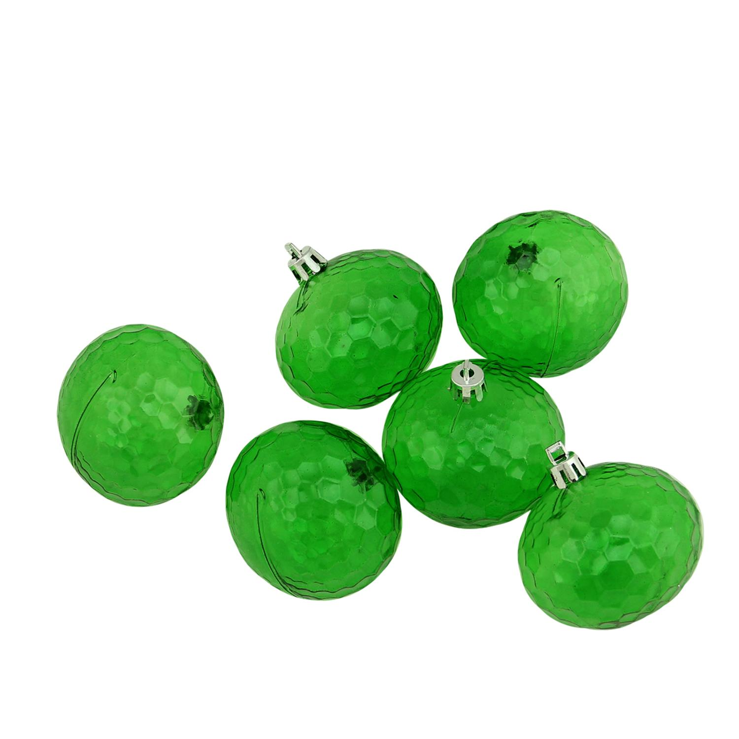 """6ct Xmas Green Transparent Shatterproof Hammered Disco Ball Christmas Ornaments 2.5"""" (60mm)"""