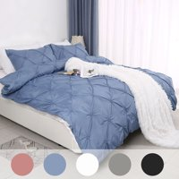 PiccoCasa Soft Polyester Pinch Pleated Duvet Cover Bedding Set 3-Pieces, Dark Blue King