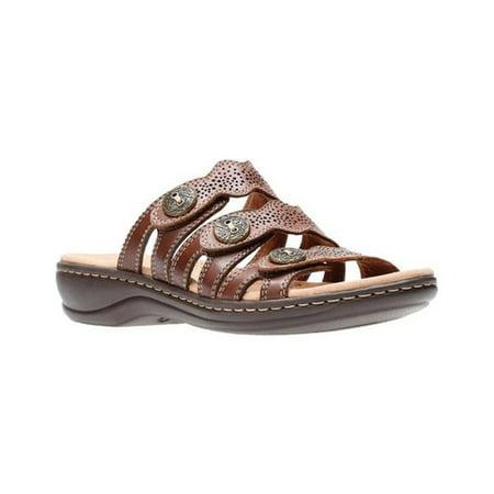 buy popular 79fe7 63e44 Womens Clarks Leisa Grace Platform Slip on Sandals, Brown Multi, 9 US / 40  EU