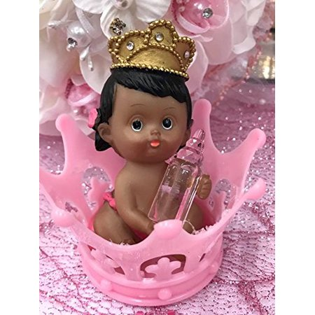 Ethnic Princess Girl Inside Pink Tiara Crown 1st Birthday Baby Shower Favor Decoration Cake Top