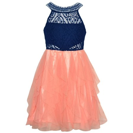 Tween Diva Girls Navy Coral Lace Yoke Neck Vertical Ruffle Dress - Tween Dance Dresses