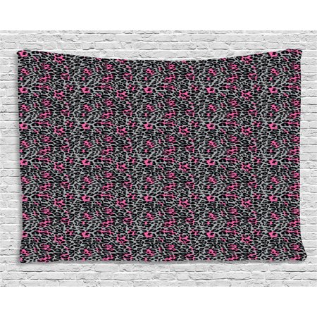 Safari Panther (Leopard Print Tapestry, African Safari Animal Pattern Nature Inspired Fashion Cheetah Panther, Wall Hanging for Bedroom Living Room Dorm Decor, 60W X 40L Inches, Pink Grey Black, by Ambesonne )
