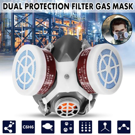 Gas Mask Hoods (Dual Protection Safety Respiratory Gas Mask Half Face Dual Protection Filter Chemical)