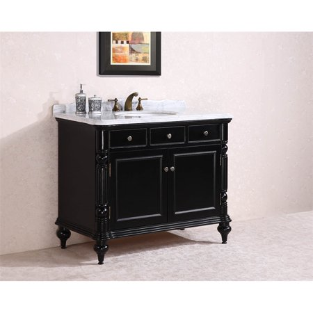 "47"" Solid Wood Sink Vanity With Marble Top-No Faucet And Backsplash, Black"