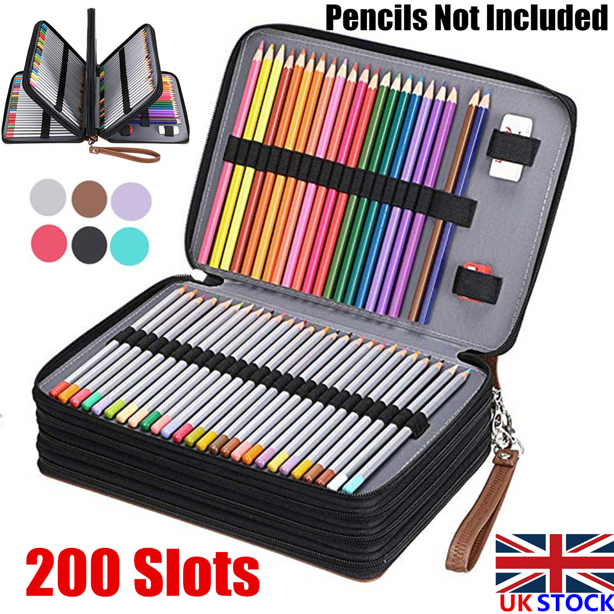 Shulaner 200 Slots Colored Pencil Case Organizer with Zipper PU Leather Large Capacity Pen Holder Bag Brown